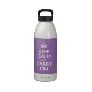 Violet Bellflower Keep Calm And Carry On Reusable Water Bottle
