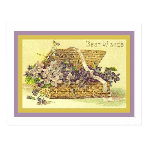 Violet Best Wishes Postcards
