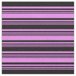 [ Thumbnail: Violet & Black Stripes/Lines Pattern Fabric ]