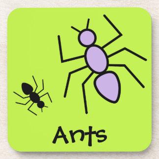 Violet & Black Vector Ants -Grass Green Background Coaster