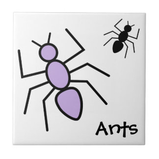 Violet & Black Vector Ants Tile