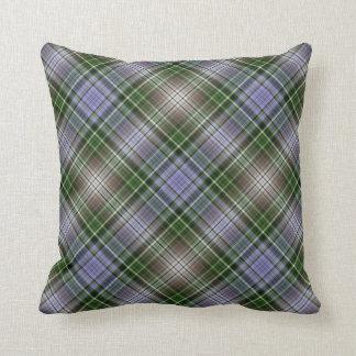 Violet blue and stone diagonal plaid pillow