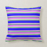 [ Thumbnail: Violet, Blue, Chartreuse & Light Cyan Lines Pillow ]