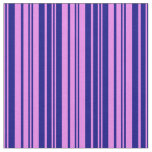 [ Thumbnail: Violet & Blue Colored Lined/Striped Pattern Fabric ]