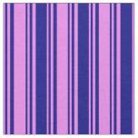[ Thumbnail: Violet & Blue Colored Stripes Fabric ]