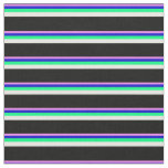 [ Thumbnail: Violet, Blue, Green, White, and Black Stripes Fabric ]