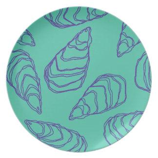 Violet Blue Oyster Shells on Aqua Dinner Plate