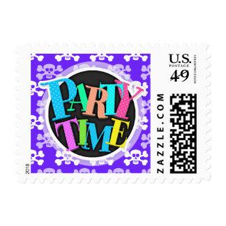 Violet Blue, Purple and White Skull & Cross Bones Postage Stamp