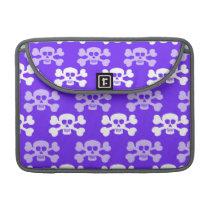 Violet Blue, Purple and White Skull & Cross Bones Sleeve For MacBooks