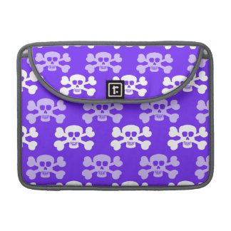 Violet Blue, Purple and White Skull & Cross Bones Sleeve For MacBooks
