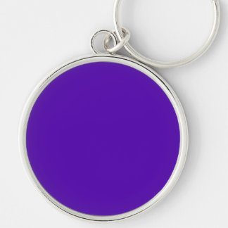 VIOLET BLUE  (solid color) ~ Silver-Colored Round Keychain