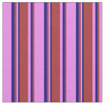 [ Thumbnail: Violet, Brown & Blue Colored Lines Fabric ]
