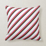 [ Thumbnail: Violet, Brown, Red, Black, and White Colored Throw Pillow ]