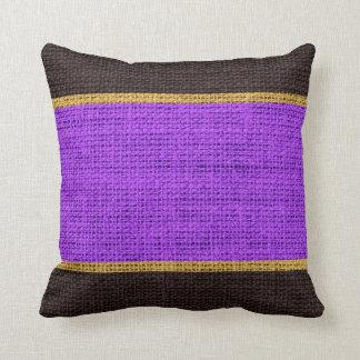 Violet & Brown Rustic Burlap Jute Background Throw Pillow