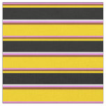 [ Thumbnail: Violet, Brown, Yellow, Black & Mint Cream Lines Fabric ]