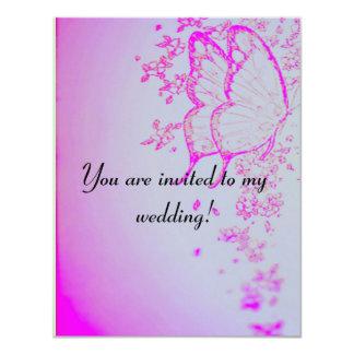 Violet Butterflies Wedding Invitation