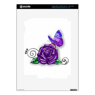 Violet Butterfly and Rose design Skin For iPad 3