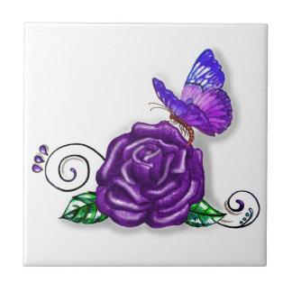 Violet Butterfly and Rose design Tile