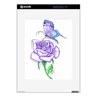 Violet Butterfly with Rose iPad Decals