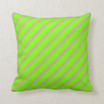 [ Thumbnail: Violet & Chartreuse Colored Striped Pattern Pillow ]