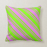[ Thumbnail: Violet & Chartreuse Stripes/Lines Pattern Pillow ]