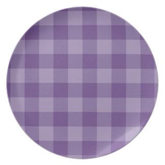 Violet checkered background dinner plate