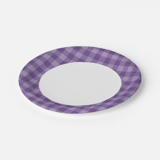 Violet checkered background paper plate