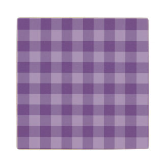 Violet checkered background wood coaster