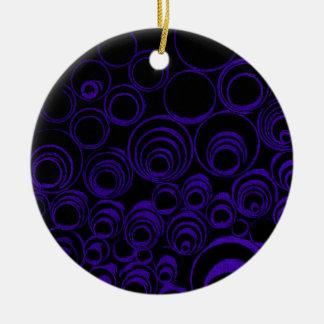 Violet circles rolls, ovals abstraction pattern UV Ceramic Ornament