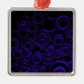 Violet circles rolls, ovals abstraction pattern UV Metal Ornament