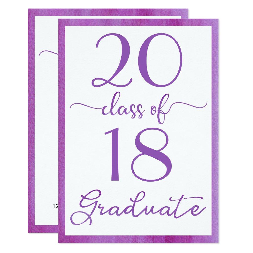 Violet Class Of Custom Year Graduation Invitation