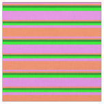 [ Thumbnail: Violet, Coral, Green, and Lime Lines Pattern Fabric ]