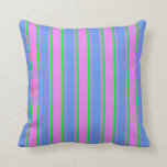 [ Thumbnail: Violet, Cornflower Blue, and Lime Lines Pattern Throw Pillow ]