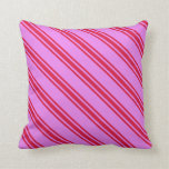[ Thumbnail: Violet & Crimson Colored Striped Pattern Pillow ]