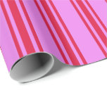 [ Thumbnail: Violet & Crimson Colored Striped Pattern Wrapping Paper ]