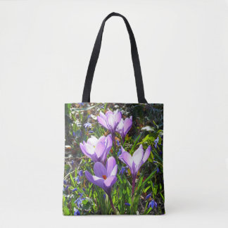 Violet crocuses 02.0, spring greetings tote bag