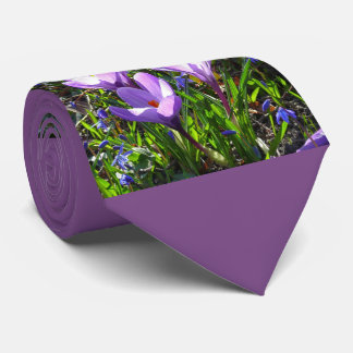 Violet crocuses 02.2, spring greetings neck tie