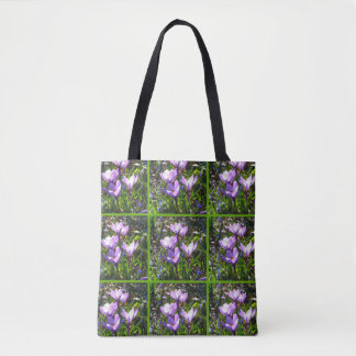 Violet crocuses 4.0, spring greetings tote bag