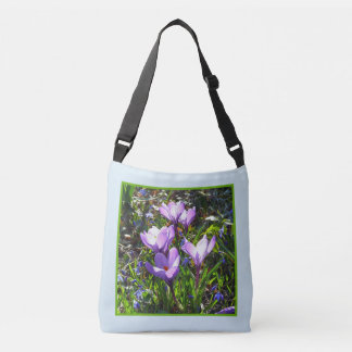 Violet crocuses 4.2.3, spring greetings crossbody bag