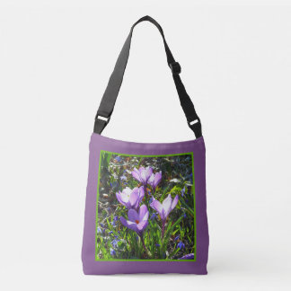 Violet crocuses 4.2, spring greetings crossbody bag