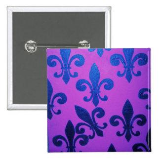 Violet Crooked Fleur De Lis Pinback Button