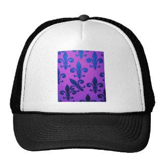 Violet Crooked Fleur De Lis Mesh Hats