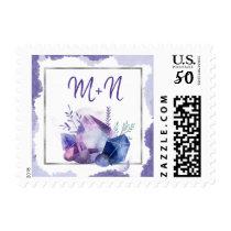 Violet Crystal Purple wedding monogram Postage