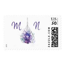 Violet Crystal wedding monogram postage