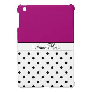 Violet Custom Name, Black & White Polka Dots iPad Mini Cases
