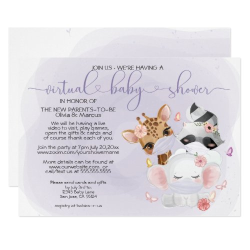 Violet Cute Animals in Masks Virtual Baby Shower Invitation