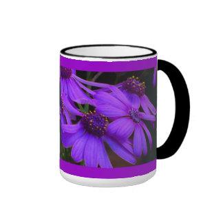 Violet Daisy Flowers Ringer Mug