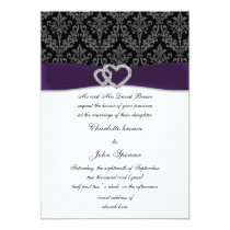 violet damask diamante wedding invitation