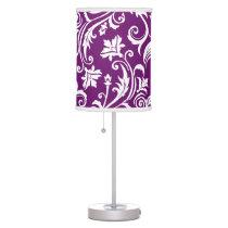 Violet  Damask Floral Pattern Desk Lamp