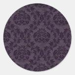 violet damask round stickers